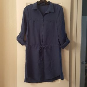 Zara teal shirt dress